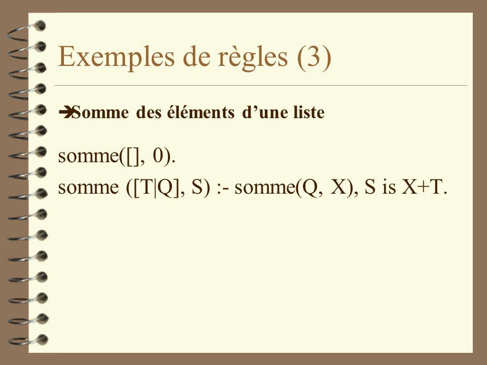 Exemples de règles (3) somme([], 0).